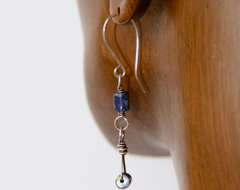Lapis dangle earrings with sterling silver wire wrap and surgical steel ear wires