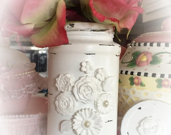 White Shabby Chic Glass Flower Vase Jar - Wedding Bridal Baby Birthday Anniversary Table Party Centerpiece Home Decor Decoration Ideas Gift