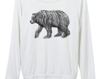 Womens Bear Light Weight Sweater - Womens Bear Sweatshirt  - Top  - Small, Medium, Large, Extra Large (3 Color Options)