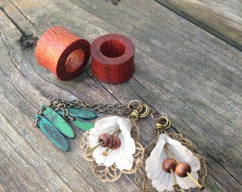 """Magnetic Bloodwood Tunnels with Lily DanglesSizes1/2""""(13mm)&9/16""""(14mm)Wooden Gauges/Formal/Tunnels/Dangle Plug Gauges/Wedding/Dangle Plugs"""