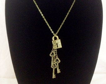 Antiqued bronze lock and keys necklace