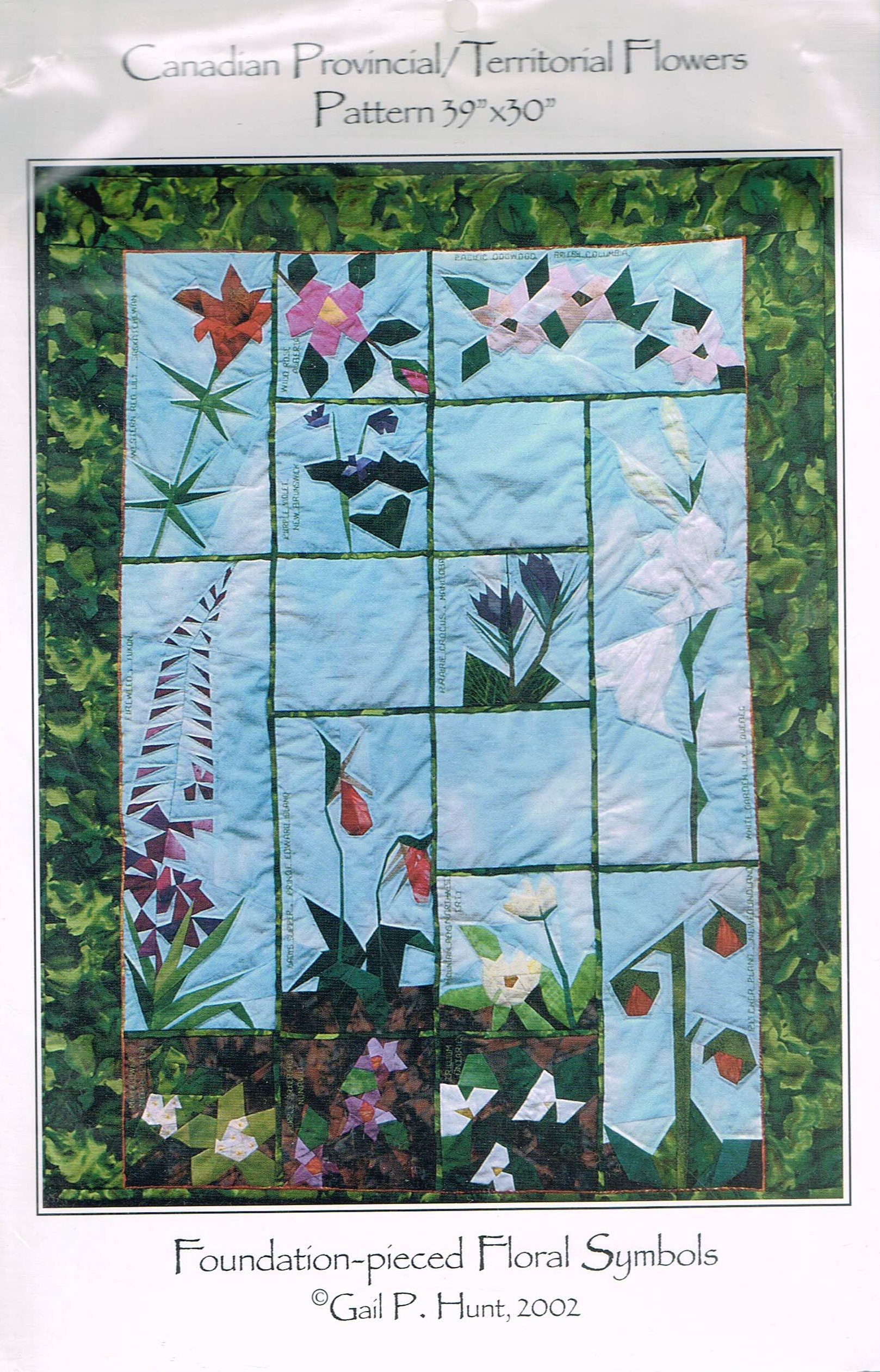 Canadian Provincial Flowers Wall Hanging Quilt Pattern Flower