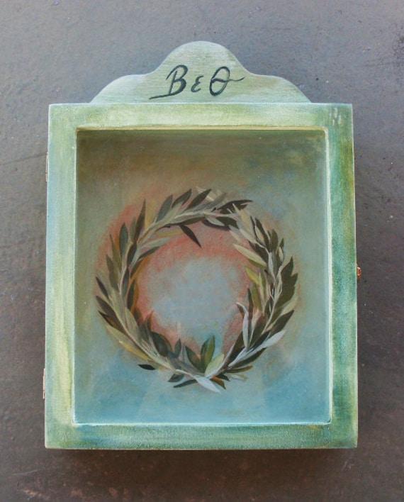 Wedding Crown Display Box - Stefanothiki - Olive Wreath