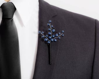 Limited Edition Pearlescent Blue Boutonniere - Blue - Boutonniere - Mens Boutonniere