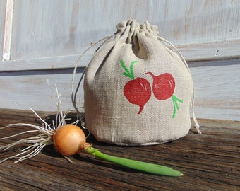 Food bag, Natural linen, Storage, Fabric, Gift, Bulk bag, Radish, Veggie, Grocery, Favor bag, 4x5 inch