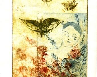 original etching on paper - Little Dreamer- Petit rêveur