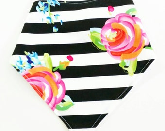 Bandana Bib Baby Girl Black and White Stripes with Floral / Coral Mint Gold / Baby Drool Bib / Baby Bandana Bib / Floral and Stripes Baby