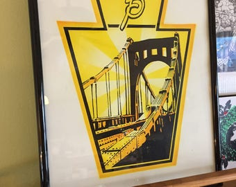 Roberto Clemente Bridge fine art print, Pittsburgh keystone hand screen print, 11x14