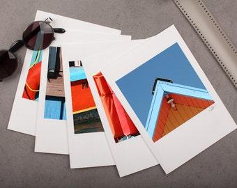 "Photo Note Card Set - 5""x7"" - Parguera Beach Houses. Nautical details, turquoise blue, orange, boat."