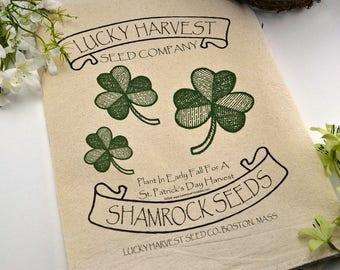 Flour Sack Towel, Farmhouse Dish Towel, Flour Sack Dish Towel, Shamrock Dish Towel, Tea Towel, Flour Sack, Lucky Harvest Shamrock Seeds