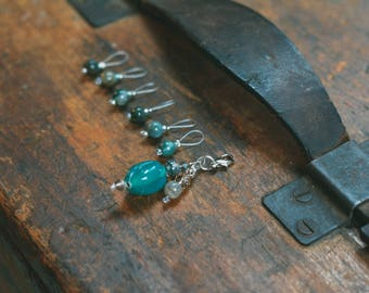 Blue and Green Glass and Stone Bead Stitch Markers, Progress Keeper, Knitting Tool