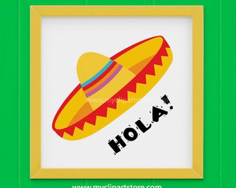 Clipart - Yellow Sombrero Hat (#1) / Cinco De Mayo / Mexican Clipart (Single Clipart Image) - Digital Clip Art (Instant Download)