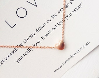Rose Gold Heart Necklace, tiny heart necklace, heart necklace, Mother's Day gift, bridesmaid gift, dainty necklace, meaningful gift