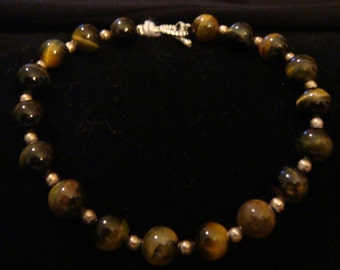 Golden Brown Tiger Eye & Sterling Silver Bracelet