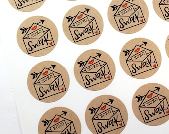 Shop Exclusive - SWAK - Sealed with a kiss - Valentines card stickers with red lips, heart & arrow - hand lettered stickers