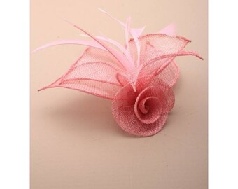 Salmon Pink Sinamay rose with feathers Fascinator on a forked clip & brooch pin. Rose Corsage Brooch, Wedding Fascinator, Pink Fascinator