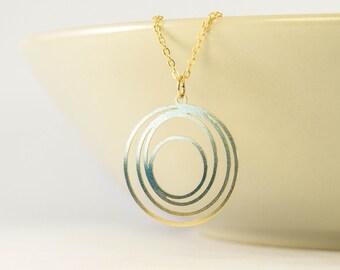 long circle necklace gift, long circle gold necklace friend gift, long circle necklace dainty pendant, long necklace, gold necklace