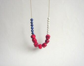 Gemstones Necklace,Red Coral,White Jadeit,Regalite