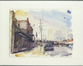 8.5x11 original watercolor of Dallas street