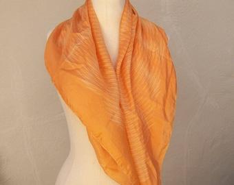 Vintage silk Symphony scarf / orange silk scarf / sunbeam scarf / large 32 square