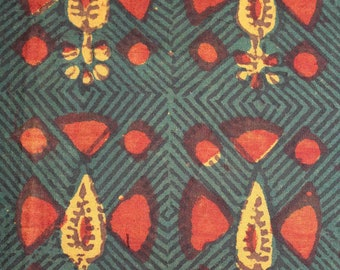 Bhalka Early Block Print Yardage,Natural Dyes on cotton
