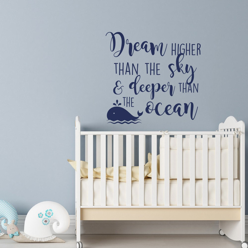 Dream Higher Than The Sky And Deeper Than The Ocean Wall Decal - Wall decals beach quotes
