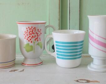 Vintage RETRO Coffee Mug Set of 4...retro mugs. set. espresso. kitschy. rainbow mug. mod. mismatched. 1960s. 1970s. drink. swirl. funky