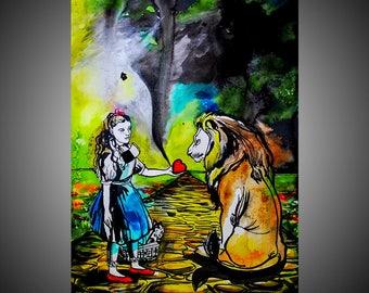 Encourage me watercolor painting, Watercolor art, Watercolor wall art, Watercolor decor, Tornado, Watercolor lion, Watercolor wall decor