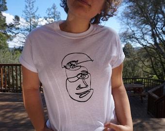ScreenPrinted Abstract Face Tshirt
