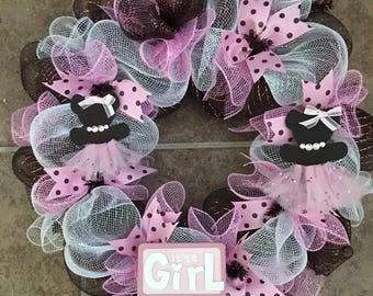 Welcome Baby Girl Wreath...  Perfect for a nursery or a front door to welcome mom and baby home