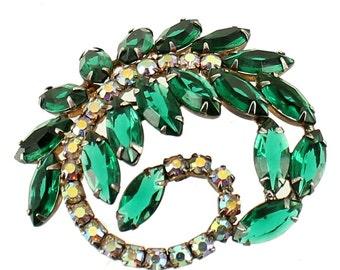 "Vintage Juliana Green Marquise & AB Rhinestones Swirl Leaf Design Pin 2.5"""