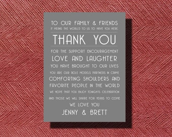 Wedding Day Thank You, Wedding Day Thank You Note to Guests, Printable Wedding Thank You Note to Guests, Thank You Napkin Card for any Event