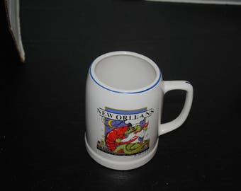 New Orleans Cooking with Jazz 1985 UGN Drinking Stein 5 in tall