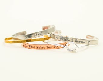 Empowering Collection | Do What Makes Your Soul Shine | Layered Bracelets | Personalized Cuffs | Name Bracelet | Date Bangle | Roman Numeral