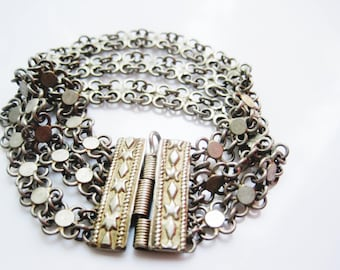 Late Ottoman Jewelry Turkish Silver Link Bracelet or Multi Chain Bracelet Made of Silver with Gold Gilt