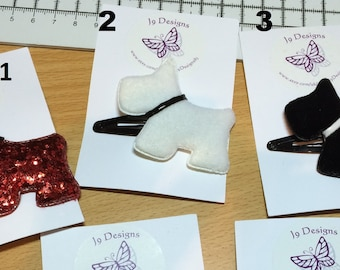 Handmade Dog Hair clip - 3 to choose from, hair clips dog clips hair accessories girls accessories