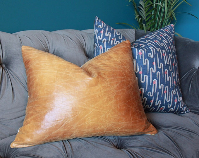 Faux Leather Pillow Cover - Camel Leather - Tan pillow cover