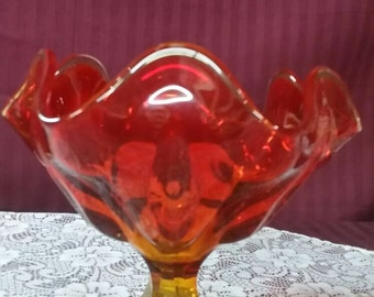 Beautiful Amber ruby red pedestal bowl