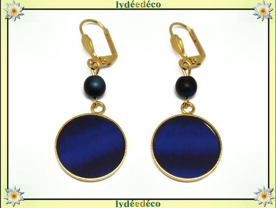 Earrings Golden brass gold 24 carat 24 k Midnight Blue resin BLUE resin glass beads