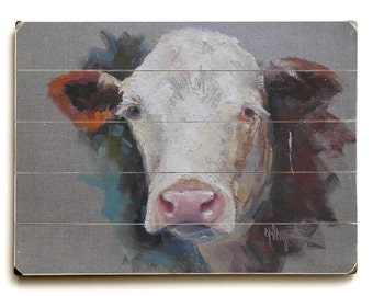 Cow Portrait, Cow Oil Painting, Cow Giclee Print on Wood, Ready to Hang,  Choose your Size, Ready to Hang, No Frame Needed