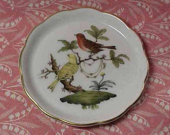 Vintage Herend China Birds Butter Pat Dish Hungary
