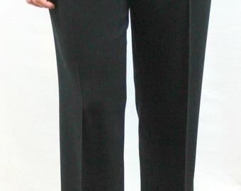 Black pair of trousers wth side zipper, unlined, by Kate Hill Petites. Fall slacks, light slacks, soft slacks, versatile slacks.