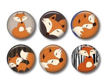 Mr Fox pinback button badges or fridge magnets , fridge magnet set