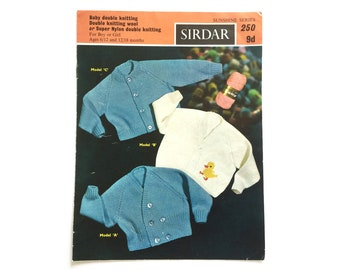 Baby's cardigans knitting patterns, Sirdar pattern 250, vintage knitting pattern, Sirdar sunshine series
