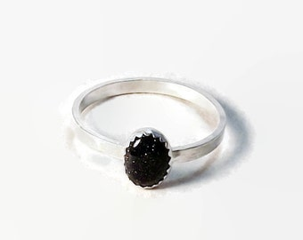 Blue Goldstone Stacking Ring, Sterling Silver Band, silver stacking ring, Goldstone ring, Goldstone, silver ring,