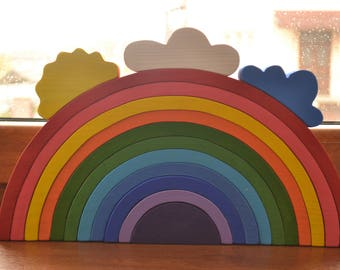 Large Stacking RAINBOW - Waldorf Wooden Puzzle - Wooden Toddler toy - Eco Friendly - Arcoiris - Arcobaleno - Rainbow stacker - Big rainbow