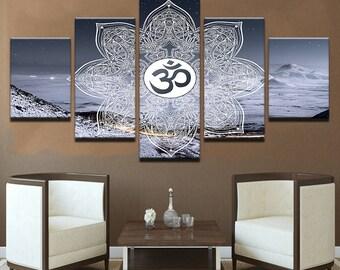Sacred Om Wall Art, Sacred Om Canvas Art, Mandala Wall Art, Mandala Canvas Art, Sacred Om Mandala 5 Piece Wall Decor, Framed