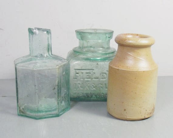 Vintage Glass and Stoneware Ink Bottle Collection
