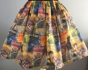 Ladies or girlsHarry Potter Book Covers inspired full skater style skirt