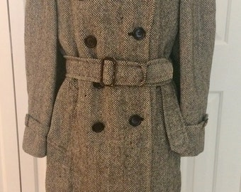 Vintage Scotland Highland Tweed Wool Men's Trench Coat/Sherlock Holmes trench/Upscale Tweed trench coat